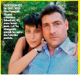 ??  ?? OSSESSIONATO DA QUEL VISO Elisa Pomarelli, 28 anni, e Massimo Sebastiani, 45, erano buoni amici. Lui l'ha strangolata quando ha capito che l'avrebbe perduta.