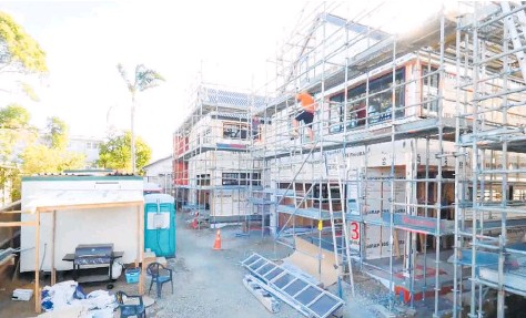 ??  ?? Work progresses on The Block houses in Pt Chev, site of this season's show where prices have jumped 37% in the last year. Photo / Three