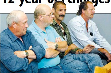 ?? — Star Photo by Cliff Wells ?? Sealers, from left, Patrick Shelley, Terry King, Derrick Pinksen and Dyson Sacrey attend the first day of their trial on charges of selling blueback pelts. The four are among 11 standing trial on the 12-year-old summary charges.