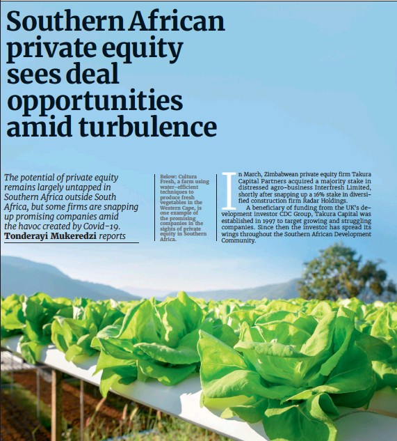 ??  ?? Below: Cultura Fresh, a farm using water-efficient techniques to produce fresh vegetables in the Western Cape, is one example of the promising companies in the sights of private equity in Southern Africa.