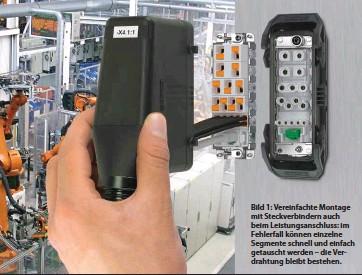 ??  ?? Bild 1: Vereinfachte Montage mit Steckverbindern auch beim Leistungsanschluss: im Fehlerfall können einzelne Segmente schnell und einfach getauscht werden – die Verdrahtung bleibt bestehen.