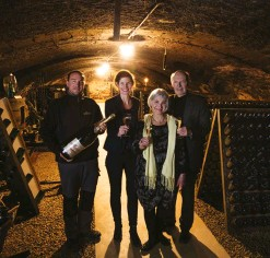 ??  ?? Left: Left to right: Julien Guerin, Amelie Mauler, Christine and Jean-Marie Mauler in the cellars. Photo © Marcus Gyger. Top middle: Mauler Cuvée Bel Heritage. Bottom middle: Saint-Pierre monastery. Right: Mauler Cuvée Eclat Brut Bio.
