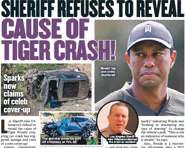 ??  ?? The golf star drove his SUV off a highway on Feb. 23