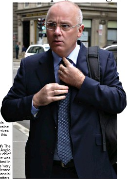??  ?? Drumm kisses his wife Lorraine as he arrives at court this week sAvvY: The former Anglo Bank chief executive was described in court as 'very sophisticated in financial matters'