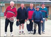??  ?? ■ (From left) Peter Rae, Peter Armstrong, John Sibree, John James and Ken Smith are keen for the start of the new tennis season.