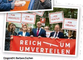 """?? Foto: Bernd von Jutrczenka/dpa ?? Eingereiht: Barbara Eschen (2.v.l. )d emonstriert als Sprecherin der Nationalen Armutskonferenz mit für die Forderungen des Bündnisses """"Reichtum umverteilen""""."""