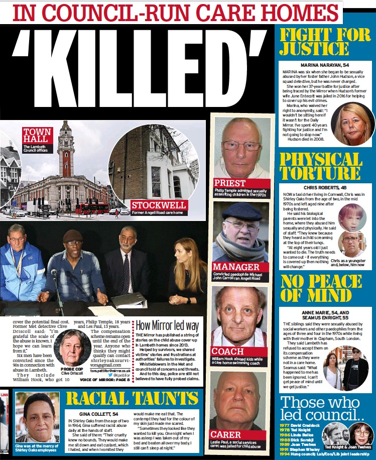 ??  ?? TOWN HALL The Lambeth Council offices PROBE COP Clive Driscoll STOCKWELL Former Angell Road care home PRIEST Philip Temple admitted sexually assaulting children in the 1970s MANAGER Convicted paedophile Michael John Carroll ran Angell Road COACH William Hook abused kids while a care home swimming coach CARER Leslie Paul, a social services carer, was jailed for child abuse