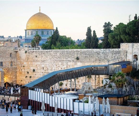 ?? (Yonatan Sindel/Flash90) ?? THE MUGRABI BRIDGE leading up to the Temple Mount compound.