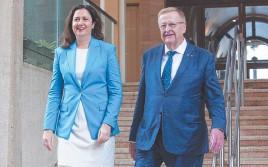 ?? GETTY IMAGES ?? Premier Annastacia Palaszczuk and Australian Olympic Committee boss John Coates