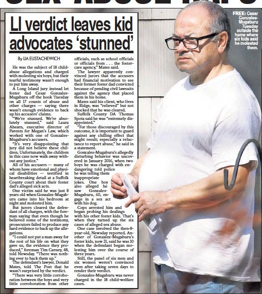 ??  ?? FREE: Cesar GonzalesMugaburu Tuesday outside the home where six kids said he molested them.