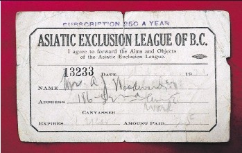 ?? NICK PROCAYLO ?? A 1921 membership card to the Asiatic Exclusion League of B.C. Artifacts from the racist organization are rare; this card turned up in a book that was sold to Macleod's Books in Vancouver in 2014.