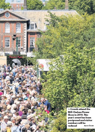 ?? Aaron Chown ?? Crowds attend the RHS Chelsea Flower Show in 2019. This year's event has been postponed and visitor numbers will be reduced