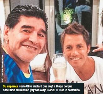 ??  ?? Su expareja Rocío Oliva declaró que dejó a Diego porque descubrió su relación gay con Alejo Clerici. El Diez lo desmintió.