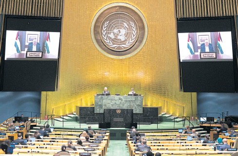 ??  ?? IN SEARCH OF PEACE: President Mahmoud Abbas of the Palestinian Authority addresses the United Nations General Assembly remotely via video on Friday.