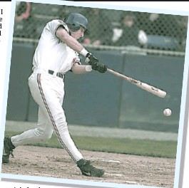 ?? RIC ERNST — PROVINCE FILES ?? Chris Pritchett hits a triple for the Vancouver Canadians back in 1997.