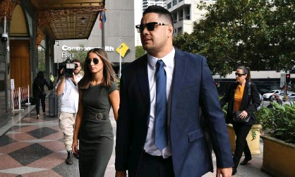 ?? Photograph: Joel Carrett/AAP ?? Jarryd Hayne arrives at court in Sydney for the first day of his retrial over claims the formerNRL player raped a woman during a stopover at her house.