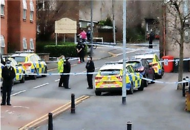 ??  ?? Police on the scene following the attack on Two Mile Hill in Kingswood in December