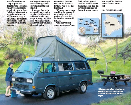 711327a779 It takes only a few minutes to pop the top of a VW camper van and unfold  beds for the night.