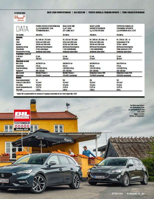 ??  ?? Testbilernes talenter diskuteres over en pariserbøf på Orø Kro, som ligger overfor kirken på Bygaden.
