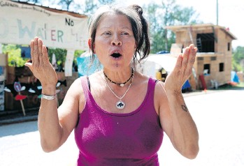 ?? MIKE BELL ?? Kwitsel Tatel, an anti-pipeline activist, said on Wednesday she will be seeking legal advice on how to respond to the 72-hour eviction notice served by the City of Burnaby to protesters earlier that day.