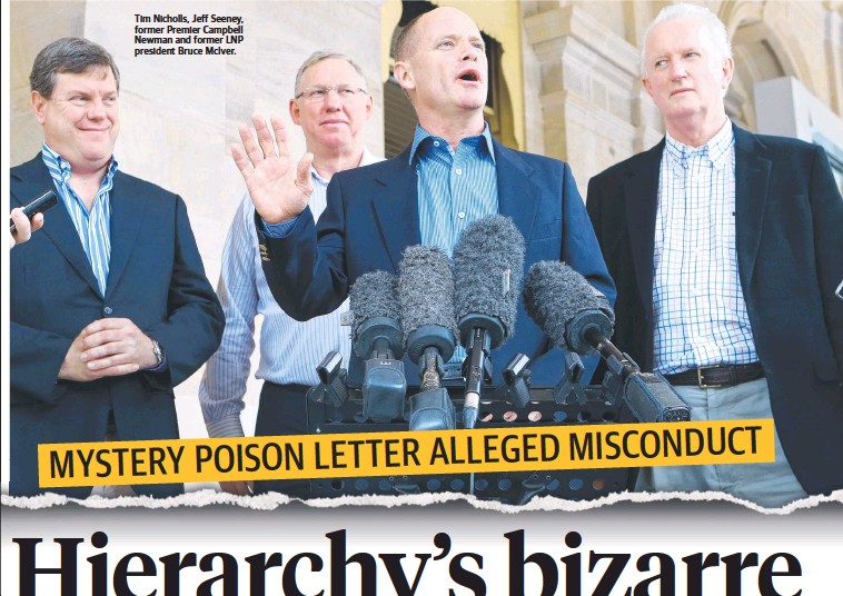 ??  ?? Tim Nicholls, Jeff Seeney, former Premier Campbell Newman and former LNP president Bruce McIver.