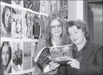 ?? Dave Pickoff Associated Press ?? MS. cofounders Gloria Steinem, left, and Pat Carbine look through an issue at the magazine's offices in 1980.