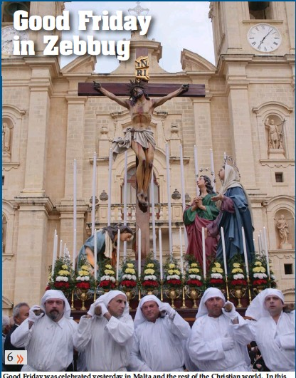 ??  ?? Good Friday was celebrated yesterday in Malta and the rest of the Christian world. In this photograph the faithful march in a traditional procession in Zebbug Photo: Alenka Falzon