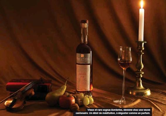 ??  ?? Vieux et rare cognac Borderies, déniché chez une veuve centenaire. Un élixir de méditation, à déguster comme un parfum.