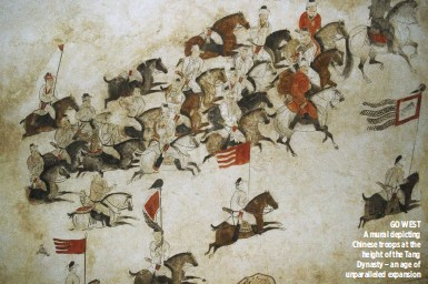 ??  ?? GO WEST A mural depicting Chinese troops at the height of the Tang Dynasty – an age of unparalleled expansion