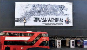 ??  ?? Tiger: poster on Shaftesbury Avenue was created using Air-ink