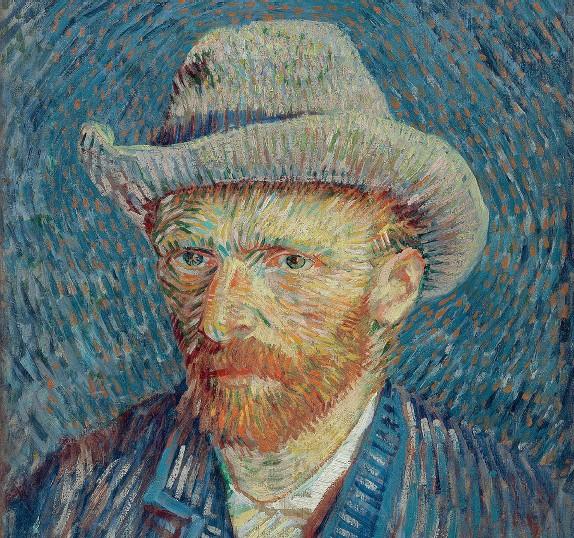 ??  ?? Capolavoro Vincent van Gogh «Autoritratto con cappello di feltro grigio», (1887) Van Gogh Museum, Amsterdam Sotto, il curatore Marco Goldin