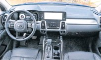 ??  ?? The shift to a more upscale look and feel is supported by heated and cooled leather front seats and other amenities.