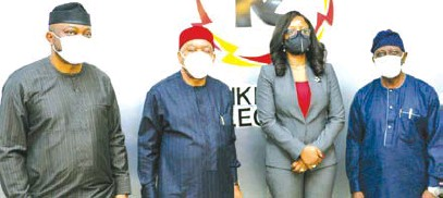 ?? IMAGE BY Pius Okeosisi ?? L-R: Toyibudeen Oduniyi, director, Bureau of Public Enterprice (BPE); Theodore Orji, chairman, senate committee on privatization and commercialization; Folake Soetan, Chief executive officer, Ikeja Electric; and Aderele Oriolowo, vice chairman of the committee, during the oversight visit to Ikeja Electric recently.