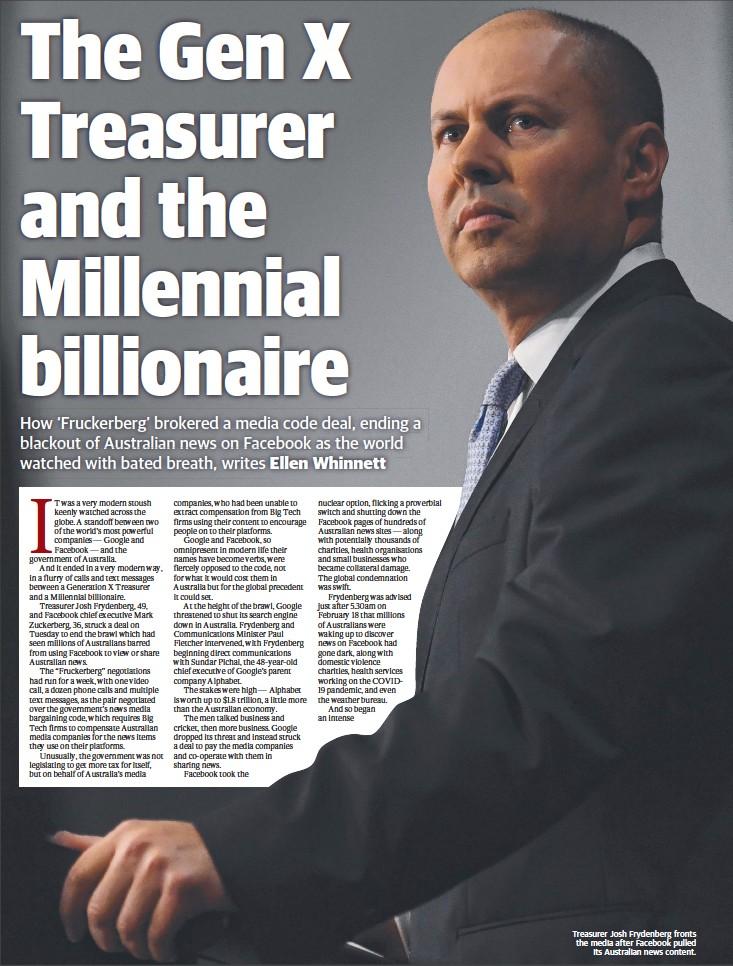 ??  ?? Treasurer Josh Frydenberg fronts the media after Facebook pulled its Australian news content.