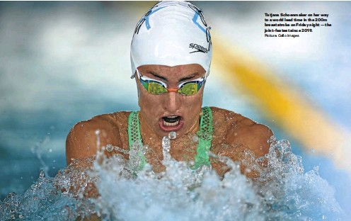 ?? Picture: Gallo Images ?? Tatjana Schoenmaker on her way to a world lead time in the 200m breaststroke on Friday night — the joint-fastest since 2019.