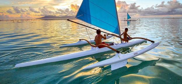 ??  ?? The single-seat Va'a Iti trimaran developed for a hotel in Bora Bora