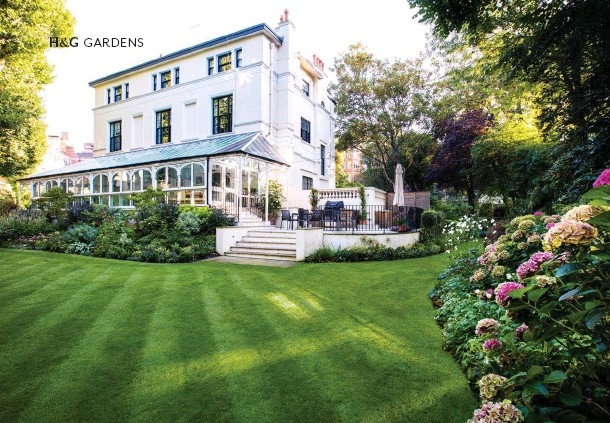 ??  ?? ABOVE Between the conservatory and manicured lawn, a new bank of plants designed by Nicky Downer features dahlia, echinacea and Persicaria cultivars. OPPOSITE Anemone hupehensis and Hydrangea macrophylla. Silver wattle ( Acacia dealbata), one of many...