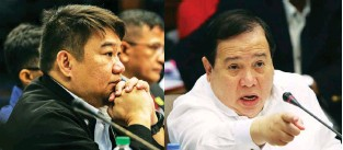 ??  ?? INVESTIGATING BOC – Senator Richard Gordon (right) presides over the hearing of the Senate Blue Ribbon Committee on the 16.4 billionmethamphetamine hydrochloride (shabu) from China which passed the Bureau of Customs (BOC). Customs Intelligence and Investigation Service director Neil Anthony Estrella (left) attended the hearing. (Jay Ganzon)