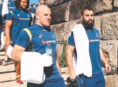 ??  ?? KIWI TOWEL UP: Stephen Moore (left) and Scott Fardy at Australia's recovery session in Sydney. Picture: Getty Images