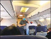 ?? Christopher Reynolds Los Angeles Times ?? A SURVEY of flight attendants found that nearly 1 in 5 experienced physical incidents while doing their job.