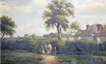 """?? FOTO: MAURITIUS IMAGES / ALAMY / ARTOKOLORO ?? Einsam ruht hier manches, nicht nur der Wald: Gemälde aus der Lebenswelt des britischen Dichters John Clare, eine """"Cottage Scene""""in Mittelengland von William P. Cartwright (1870)."""