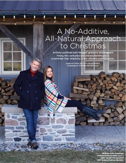 ??  ?? Andraya Frith (@andraya 1123farmhouse) bundles up in a plaid capelet (thebay.com) with husband Graham Kechnie.