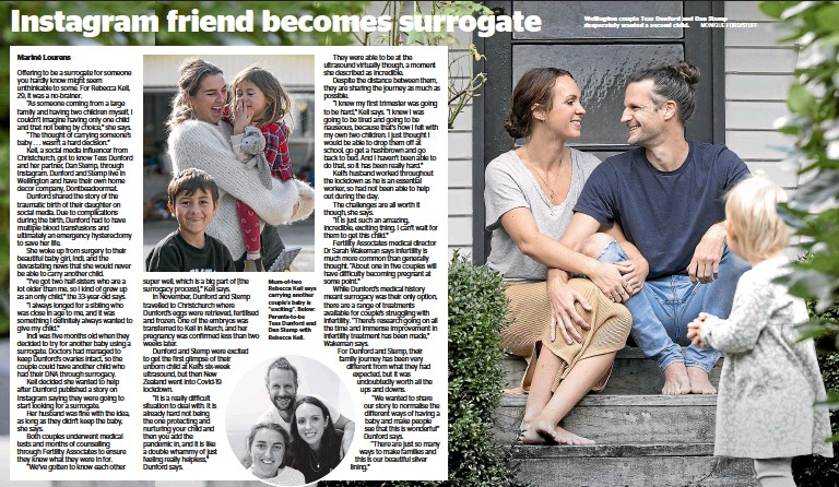 ?? MONIQUE FORD/STUFF ?? Wellington couple Tess Dunford and Dan Stemp desperately wanted a second child.