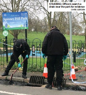 ?? CHRIS GORDON ?? STABBING: Officers search a drain near the park for evidence