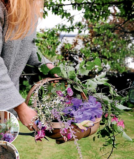 ?? PHOTOS: JULIA ATKINSON-DUNN ?? A trug is a great way to get flowers from the garden to the kitchen.