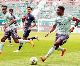 ??  ?? David Alaba kam in Klagenfurt für Bayern München in der zweiten Hälfte ins Spiel, trug dann sogar die Kapitänsbinde.