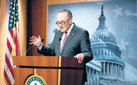 ?? ANNA MONEYMAKER/THE NEW YORK TIMES ?? Senate Majority Leader Chuck Schumer, seen Tuesday, said Senate debate on President Biden's $1.9 trillion coronavirus relief bill would start as soon as Wednesday. Democrats want to send a final package to the president by March 14.