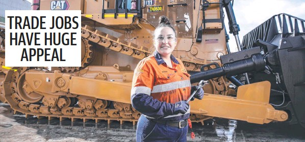 ?? Picture: Mark Cranitch ?? Brooke Bell is an apprentice at Hastings Deering which sells and services trucks, bulldozers and other heavy equipment.
