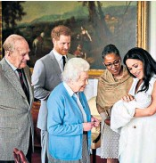 ??  ?? The Duke of Edinburgh and the Queen with the Duke and Duchess of Sussex, their son, Archie, and the Duchess's mother, Doria Ragland
