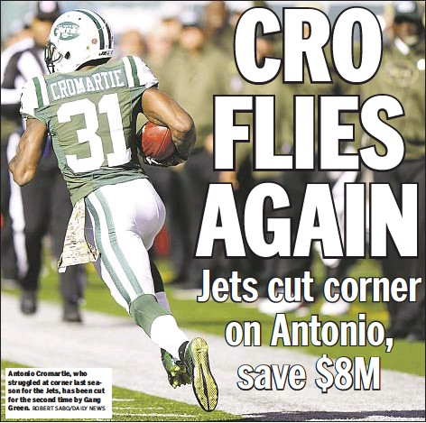 ?? ROBERT SABO/DAILY NEWS ?? Antonio Cromartie, who struggled at corner last season for the Jets, has been cut for the second time by Gang Green.
